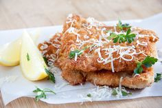 Pecorino Crumbed Chicken.  A simple and delicious recipe for cheesy crumbed chicken. Ready in less than 10 minutes and best served hot with fresh lemon.