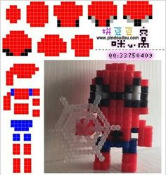 3D spiderman perler bead layout. Cute.