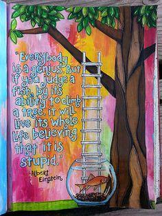Everybody Is a Genius-art journal page by Jolene Eborn | by artbyjoleneeborn