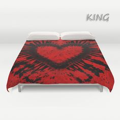 Duvet Cover-Comforter Cover-Tie Dye Bedding-Heart-Red by LKBcolour