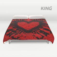 Duvet Cover-Comforter Cover-Tie Dye Bedding-Heart-Red by LKBcolour
