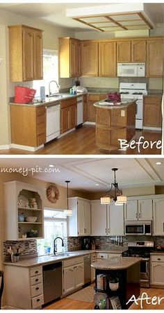 Great kitchen makeover...can't believe this is the same room!  New lighting, paint cabinets and add hardware, new wall color, new back splash, paint island cabinet black, change out white appliances for stainless, add trim on ceiling where box light used to be.  This is much less expensive than a complete gut and redo.