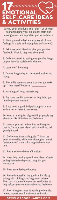 Emotional Self Care Ideas | Self Love and taking care of yourself | P/O 274 Self care ideas. See the entire list here: https://www.developgoodhabits.com/self-care-ideas/
