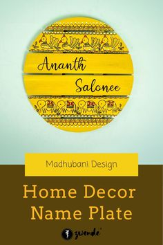 Hand-Painted Circular Shape Madhubani Design Yellow Name Plate for your Home Entryway. Available in a number of monochromatic colors and traditional madhubani designs for an Indian touch to your Home Decor Madhubani Art, Madhubani Painting, Boys Room Wallpaper, Name Plate Design, Name Plates For Home, Name Boards, Mdf Wood, Cardboard Crafts, Macrame Patterns