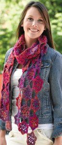 Bright Pink Crocheted Scarf  by Kirsten Hipsky of Valley Yarns for Yarn.com.  I like the light, lacey texture of this scarf.  This would be great for spring.