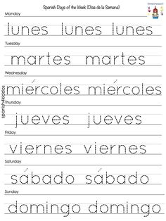 Days of the week in Spanish - Spanish4Kiddos Educational Resources