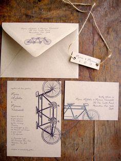 Tandem Bike Wedding Invitation, Recycled, Eco Friendly Wedding Invitation, Rustic. $3.75, via Etsy.