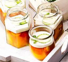Fun and fruity individual desserts with a layer of set cream - use portable jam jars to pack up for a picnic