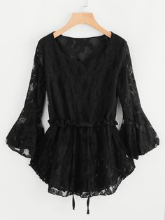 Shop Floral Lace Flute Sleeve Drawstring Pep Hem Blouse online. SheIn offers Floral Lace Flute Sleeve Drawstring Pep Hem Blouse & more to fit your fashionable needs.