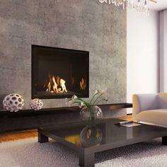 Concrete fireplace by Mendota Hearth
