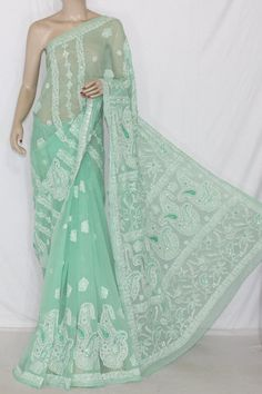 Pista Green Hand Embroidered Lucknowi Chikankari Saree with Mukaish Work (With Blouse - Georgette) 14349