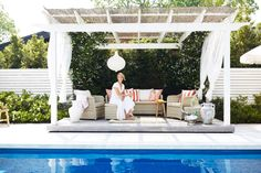Bamboo Roof, Wood Slat Wall, Three Birds Renovations, Casa Patio, Pool Cabana, White Pergola, Backyard Projects, Pool Designs, The Hamptons