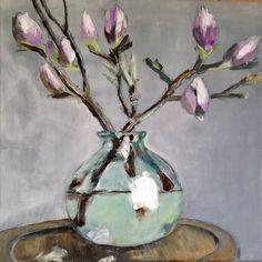 Acrylic on canvas - 2017 Magnolia, Art Work, Glass Vase, My Arts, Canvas, Painting, Home Decor, Work Of Art, Painting Art