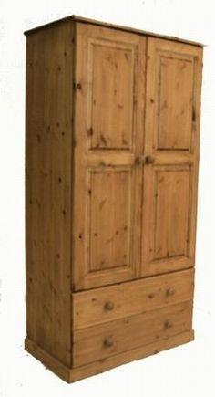 Solid pine 2 drawer wardrobw