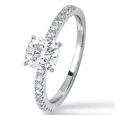 14K White Gold Classic Side Stone Prong Set Diamond Engagement Ring