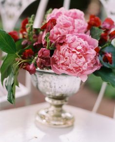 Pink Peonies and Mercury Glass