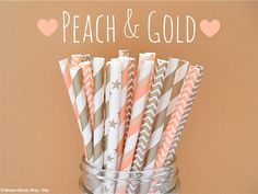 Peach & Gold Paper Straws (Peach and Gold - Packs of 25 or 50) *Weddings…