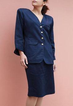Vintage Hand Made Suit Navy Blue, Jacket, Skirt, Silk/Cotton