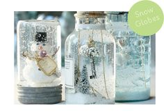 Homemade snow globes in old mason jars and corked bottles. Cute idea if we get married during winter All Things Christmas, Holiday Fun, Christmas Holidays, Christmas Decorations, Family Christmas, Wedding Decorations, Homemade Snow Globes, Mason Jars, Apothecary Jars