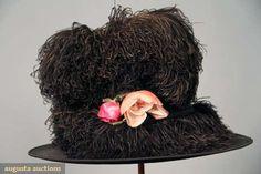 Augusta Auctions: black plumed hat, camille roger, paris, c. 1905