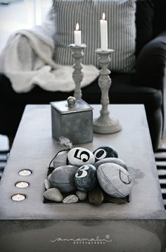 brilliant idea, lol... if you have nothing to decorate with, get some rocks and do art!