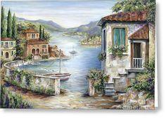 Tuscan Villas By The Lake Art Print by Marilyn Dunlap - Malerei Kunst Landscape Art, Landscape Paintings, Belle Image Nature, Pintura Exterior, Lake Painting, Painting Art, Lake Art, Photo Vintage, Jolie Photo