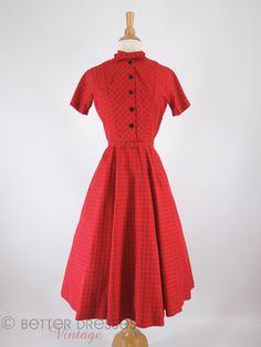 50s Red & Black Plaid Full Skirt Shirtwaist Dress - sm by Better Dresses Vintage