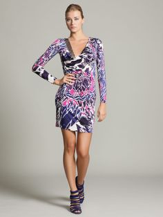 Silk Embellished Cowl Neck Dress by Emilio Pucci at Gilt