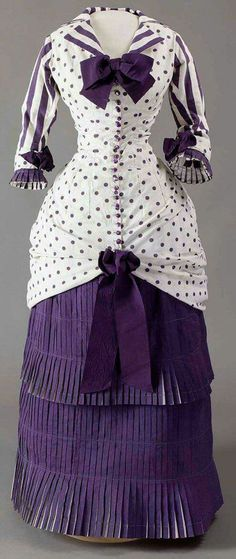 Gaze upon this fabulous gown once again with all its dots & stripes.  Summer Day Dress Worn by Madame Bartholomé in the Painting In the Conservatory French, 1880 White cotton printed with purple dots and stripes Musée d'Orsay, Paris.