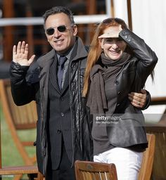 Bruce Springsteen waves after he and wife Patti Scialfa watch their daughter Jessica Springsteen compete in the show jumping event at the Royal Windsor Horse Show on May 13, 2011 in Windsor, England.