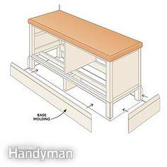 Fasten molding – Ikea Hemnes Hack: Built-in Bench www.familyhandyma… Source by family_handyman Woodworking Basics, Woodworking Workbench, Woodworking Projects, Woodworking Organization, Woodworking Quotes, Hemnes Tv Bank, Ikea Hack Bench, Build Your Own Garage, Built In Bench