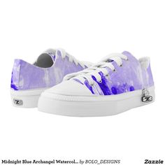 Midnight Blue Archangel Watercolor Splash Low Tops Printed Shoes