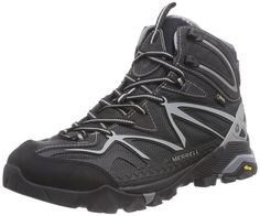 Merrell Men's Capra Mid Sport Gore-Tex Hiking Boot Lace-up hiking boot with GORE-TEX waterproof membrane featuring reinforced toe cap, bellows tongue, and nylon arch shank Trail protect pad EVA molded footbed Vibram MegaGrip outsole Vegan Hiking Boots, Gore Tex Hiking Boots, Vegan Boots, Trail Shoes, Trail Running Shoes, Hiking Shoes, Men Hiking, Hiking Gear, Camping Gear