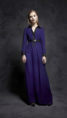 Jennifer Chun FW2012: Violet Georgette Maxi Shirtdress with Leather Belt.