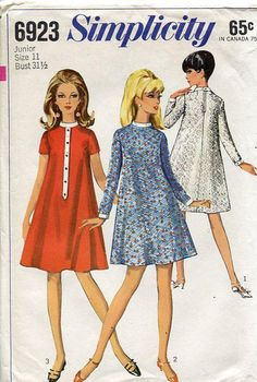 Simplicity 6923 Vintage Retro 1960's 60's Mod Dress Tent Flared Valley of the Dolls Style Cocktail Bust 31.5 Sewing Pattern by LanetzLivingPatterns on Etsy