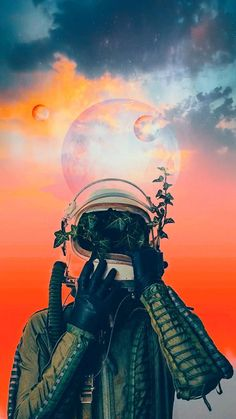 Space wallpaper aesthetic pink blue astronaut