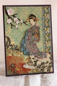 """Happy Birthday"" Card  (Note: card made with G45 ""Birdsong"" Collection, Bo Bunny ""Serenity"" 6x6 pad, & SB ""Cherry Blossom"" die)  (Site: shows 4 additional cards made with G45 ""Birdsong""; general info only)"
