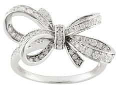 Bella Luce (R) .75ctw Diamond Simulant Round Rhodium Over Sterling Silver Bow Ring (.55ctw Dew)