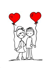 ♡Couple #inL♡ve drawing Red ♥Heart♥ Balloons