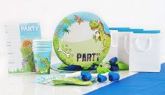 Dinosaur themed party supplies - everything you need to host your next birthday party including party favours for all guests!  Looks like good things for grandson's party!