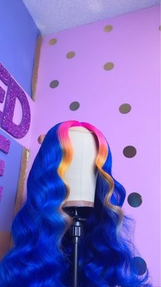 Custom Blue Body Wave with Highlight Full Lace/Lace Front Wig - 18663971233 Type: Human Hair Wigs Hair: Human Hair Texture: Body Wave Lace Color - Cute Hair Colors, Pretty Hair Color, Frontal Hairstyles, Wig Hairstyles, Colored Weave Hairstyles, Drawing Hairstyles, Hair Colorful, Multicolored Hair, Curly Hair Styles