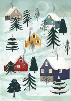 Christmas Wonderland for Lagom Winter Illustration, Christmas Illustration, Illustration Art, Retro Christmas, Christmas Art, Winter Christmas, Xmas, Winter Art, Winter Snow