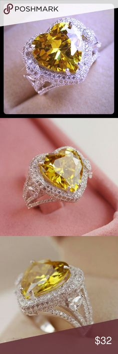 Yellow Topaz925 Silver Heart Ring Yellow Topaz .925 Silver Heart Ring - Sizes 7 & 8  New in Plastic Packaging Jewelry Rings
