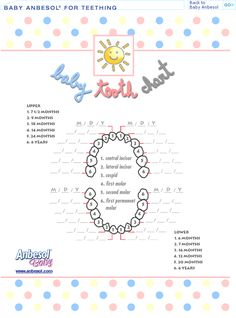 TODAY'S FREEBIE: Free Printable Baby Tooth Chart (ALL) -- Great idea for your baby book! Use this chart to keep track of your new baby's teeth. Baby Teething Chart, Baby Chart, Dental Kids, Free Dental, Tooth Chart, Baby Scrapbook, Pregnancy Scrapbook, First Tooth, Tooth Fairy
