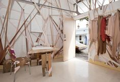 Pantyhoses (!) used for interior design of Arnsdorf temporary concept store