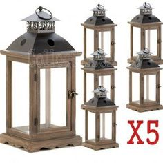 $Bulk Price Set Of 5 Large Rustic Monticello Wood Frame Candle Lanterns 10015420 The stately design of this candle lantern