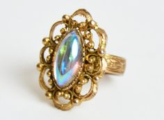 Vintage 60s 70s AB Navette Rhinestone RING / Opal Cab Cocktail Ring