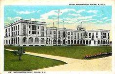 Colon Panama 1919 Washington Hotel Collectible Antique Vintage Postcard