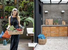 Jardineira casual: Beatriz curte mexer em seu jardim, onde cultiva suculentas | Churrasqueira: bancada de cimento queimado com portas de mad...