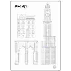 studio esinam Brooklyn Landmarks Architectural Print (255 AUD) ❤ liked on Polyvore featuring home, home decor, wall art, black wall art, black white home decor, unframed wall art, white wall art and black home decor